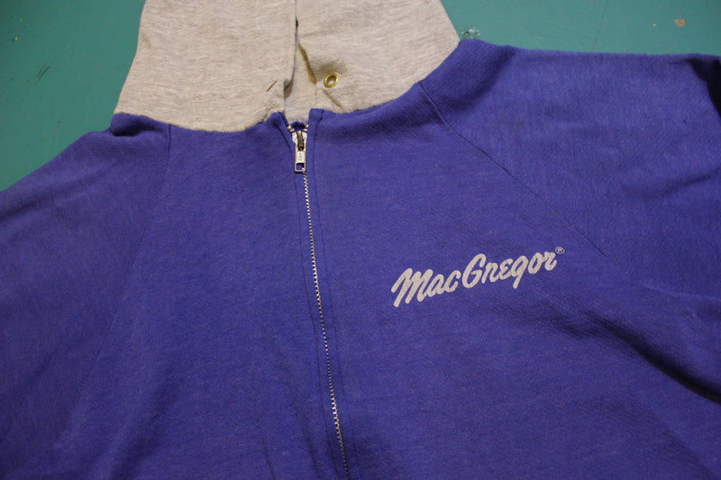 MacGregor Vintage Color Block Spellout Logo 80's Distressed Hoodie Sweatshirt