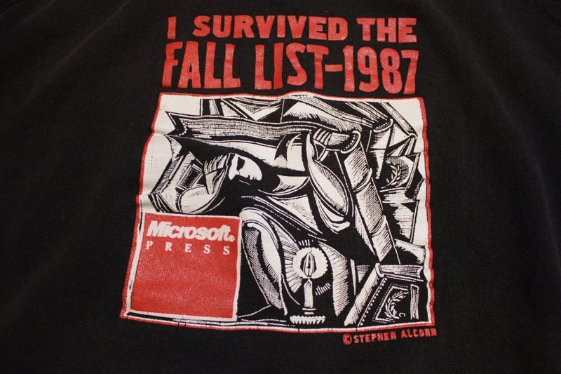Microsoft Press 1987 I Survived The Fall List Stephen Alcorn Art Print Hoodie Sweatshirt
