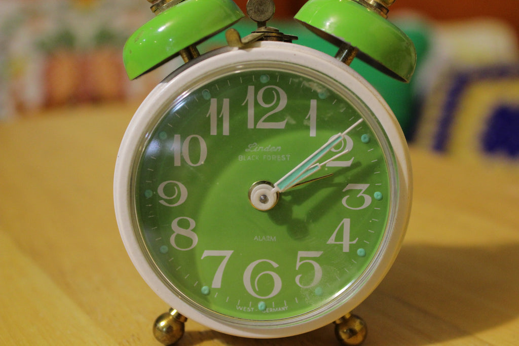 Linden Black Forest Vintage White and Green Double Bell Alarm Clock. 1960's 1970's