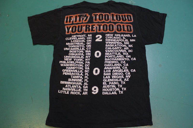 Kiss Too Loud You Are Too Old 2009 Vintage Cities List Tour T-Shirt Distressed