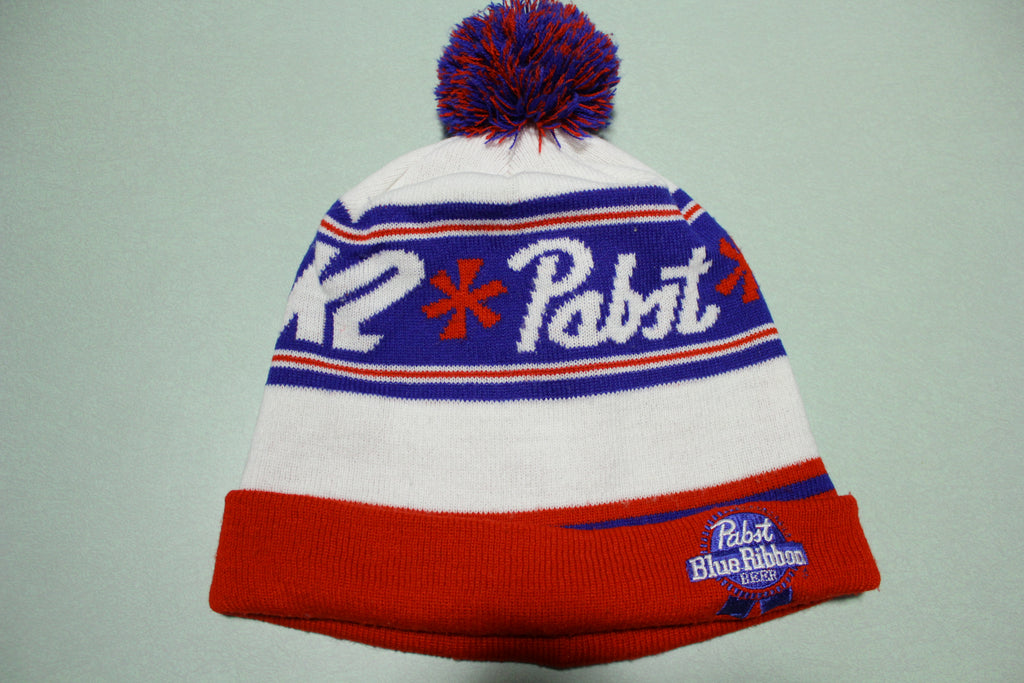 Pabst Blue Ribbon Beer K2 Vintage Pom Beanie Snow Ski 80's Stocking Cap Hat