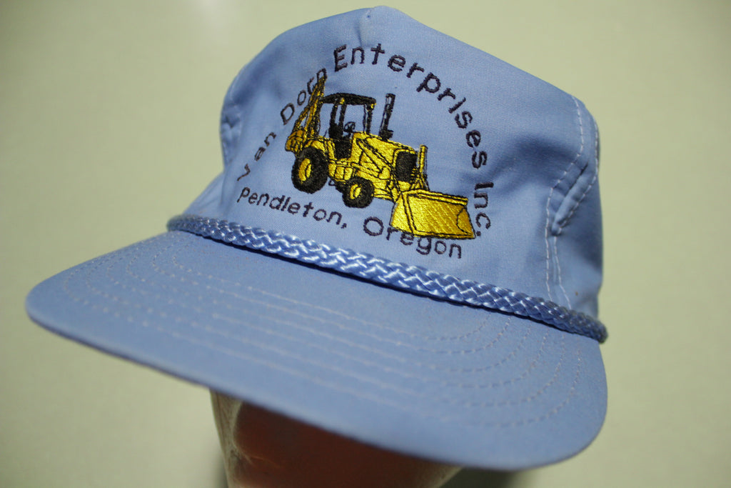 Cat Front Loader Backhoe Corded Vintage 90's Trucker Adjustable Snapback Hat