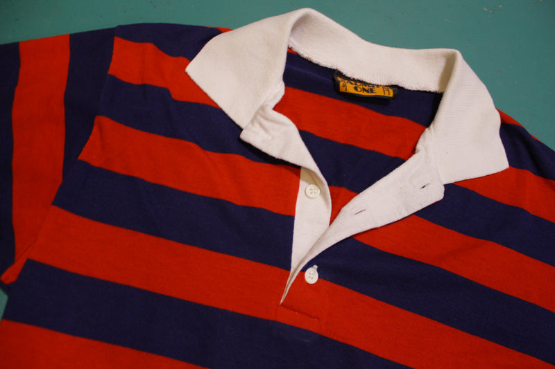 Admit One Striped 70's 80's Tennis Golf Single Stitch Polo Shirt