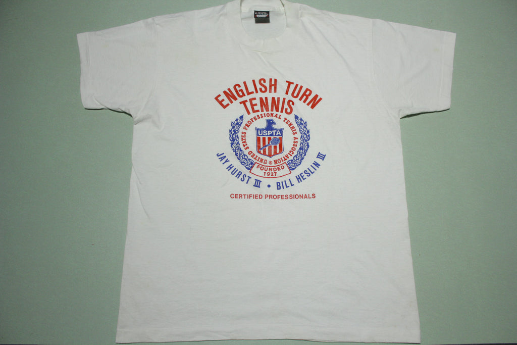English Turn Tennis Jay Hurst Bill Heslin Vintage Screen Stars 80's 90's T-Shirt