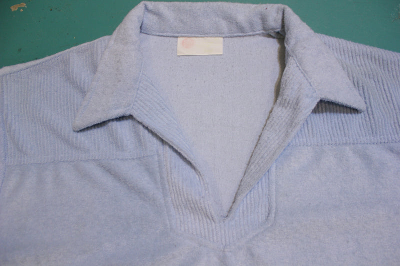 Kings Road Sears Vintage Terry Cloth 70's Tennis Golf Single Stitch Polo Shirt