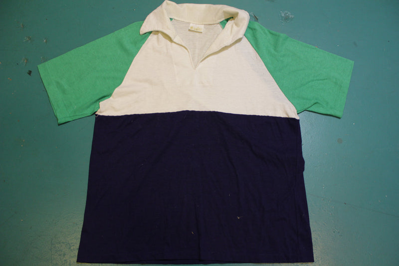 Kings Road Sears The Mens Store Colorblock 70's Tennis Golf Single Stitch Polo Shirt