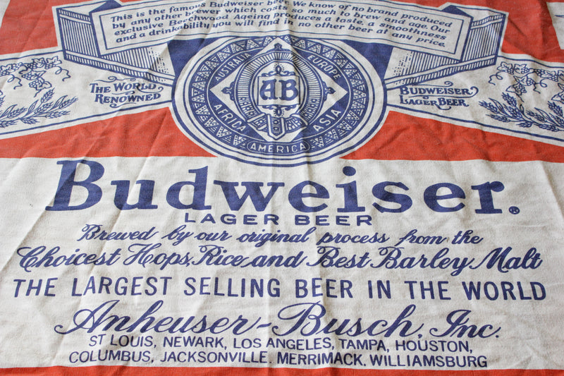 "Giant Budweiser Blanket.  Vintage 1980's.  78""x104"""