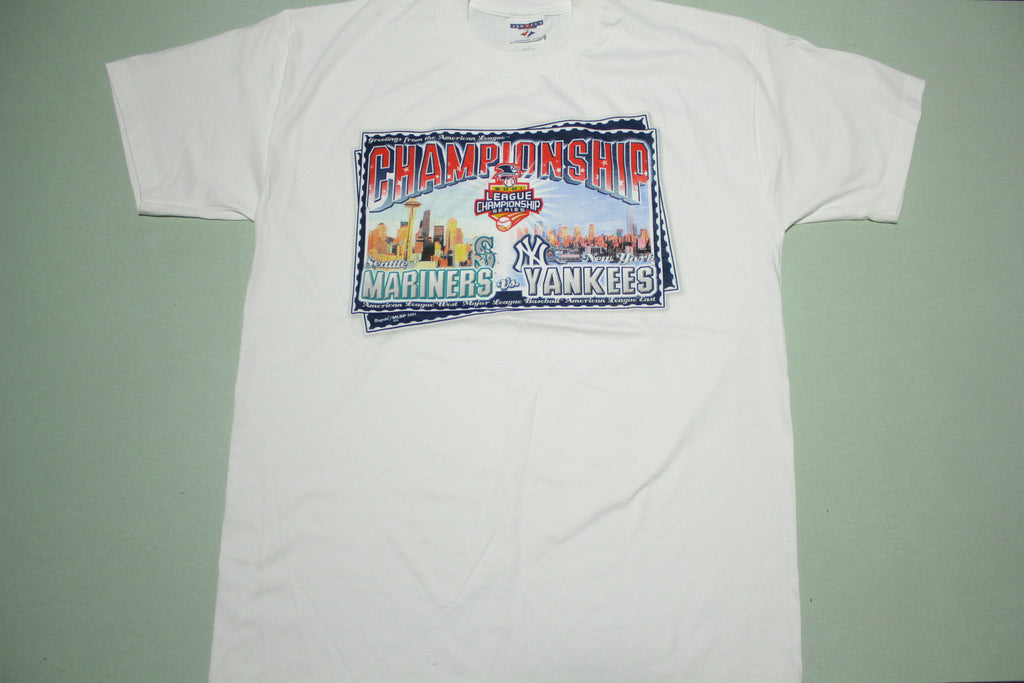 NY Yankees Seattle Mariners 2001 Championship Vintage Series T-Shirt