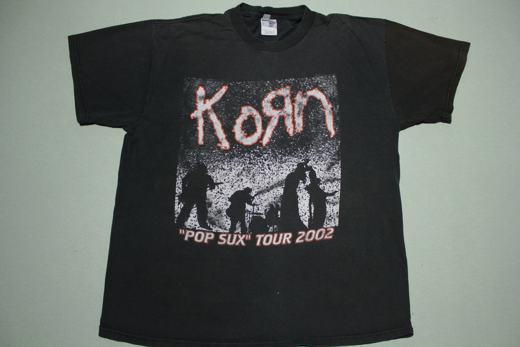 Korn Disturbed Pop Sux 2002 Vintage Tour Concert Metal Rock Rap T-Shirt