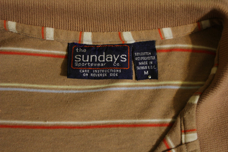 The Sundays Sportswear Vintage 1980's Rainbow Striped Brown Polo 80's