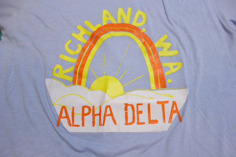 Richland WA Alpha Delta Vintage Homemade Single Stitch 80's Spruce T-Shirt