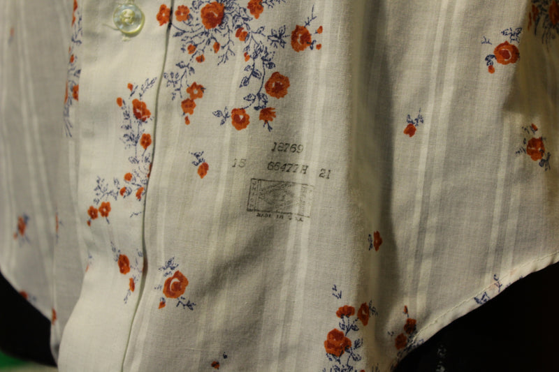 Career Club Duo Button Up Rose Pattern 1970s Shirt.  Made in USA.