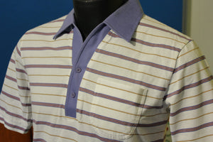 Monarch Striped 2 Button Vintage Polo Shirt. 1970's - 1980's Nice!