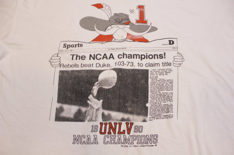UNLV Rebels 1990 NCAA Champions VS Duke 103-73 Headline Single Stitch T-Shirt