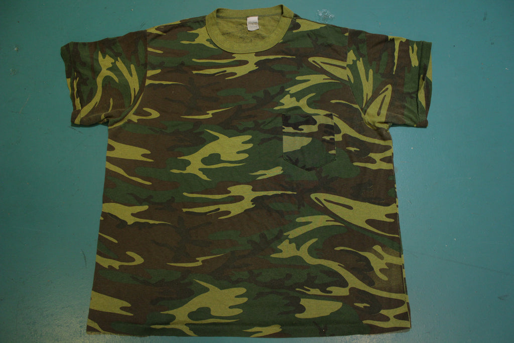 Camo Shirt 1980's Vintage Single Stitch Pocket Military T-Shirt