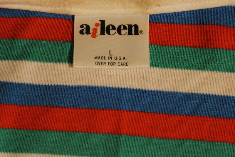 Aileen 1980's 1970's Vintage Striped Sleevless Summer Shirt.
