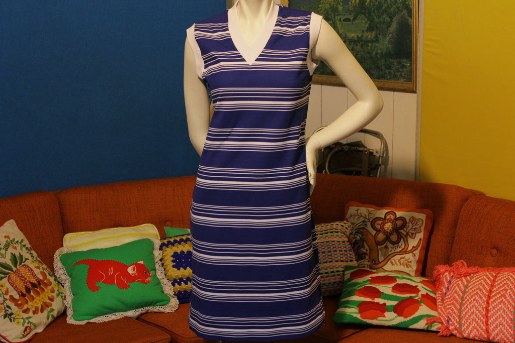 Blue Striped Montgomery Ward Straight Cut Sleeveless Dress Vintage 1960's 1970's
