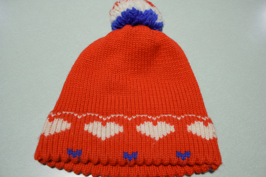 Obermeyer Vintage 80's Heart Stocking Hat Pom Snow Cap Beanie