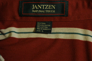 Maroon Striped Jantzen Polo. Natural Touch Vintage 80's 90's Short Sleeve.