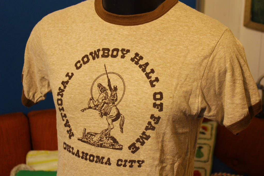 National Cowboy Hall Of Fame Oklahoma City Vtg 80's 70's T-Shirt. Hanes Ringer