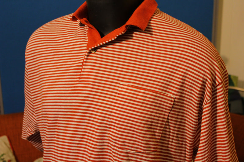 Red and White Striped Puritan Polo. Vintage 80's 90's.