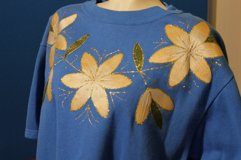 Glitter Flowers Blue Hanes Short Sleeve Sweatshirt. Activewear. Made in USA.