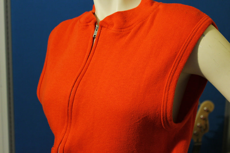 Red 1970's Sleeveless Sweatshirt w/ Zipper. Sportswear Vest.  Made in USA.