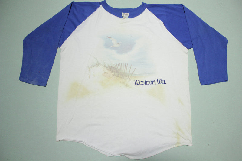 Westport WA Vintage 80's Raglan Rainy Washington T-Shirt