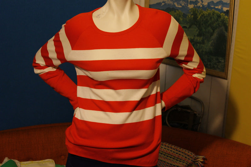 Aileen Red White Striped Long Sleeve Shirt 1980's Small
