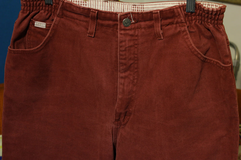Lee Burgundy 1980's High Waisted Mom Stretch Jeans. Made in USA Women's 16