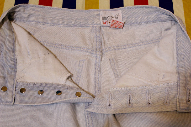 Vintage Denim Republic Button Fly Jean Shorts.  1980's Jeans. Stone Acid Washed. Small