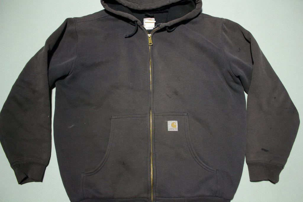 Carhartt J149 BLK Black Zip Up Lined Hooded Hoodie Sweatshirt Jacket