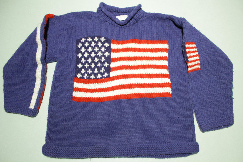 American Flag Ecuador 100% Wool Indian Of Hands Roll Neck Sweater