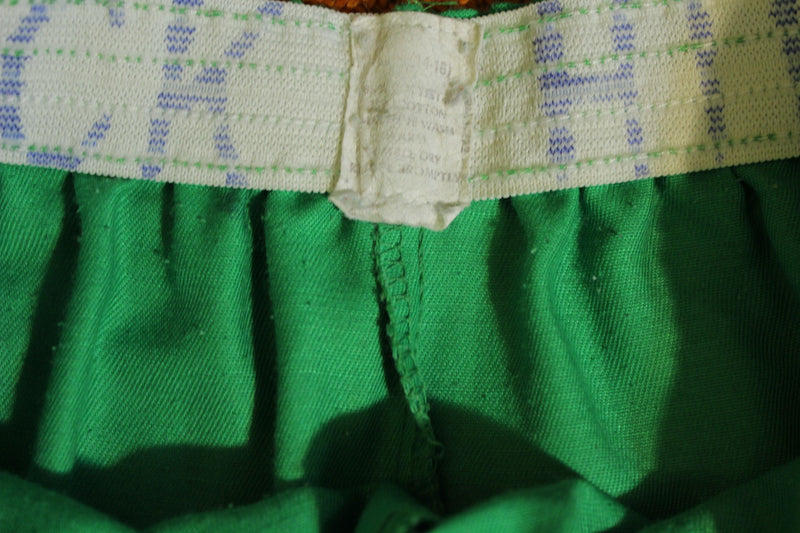 1980's Green White Striped Vintage Gym Shorts. Small PE High School