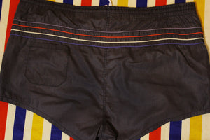 1980's Vintage Black Striped Swimming Shorts. Men's Large w/ Drawstring.
