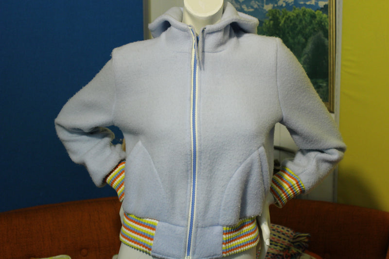 Vintage Blue Striped Union Made Hoodie 1970s