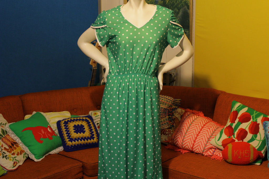 Lynn Davis Green White Polka Dot Vintage Dress 1980's 1970's