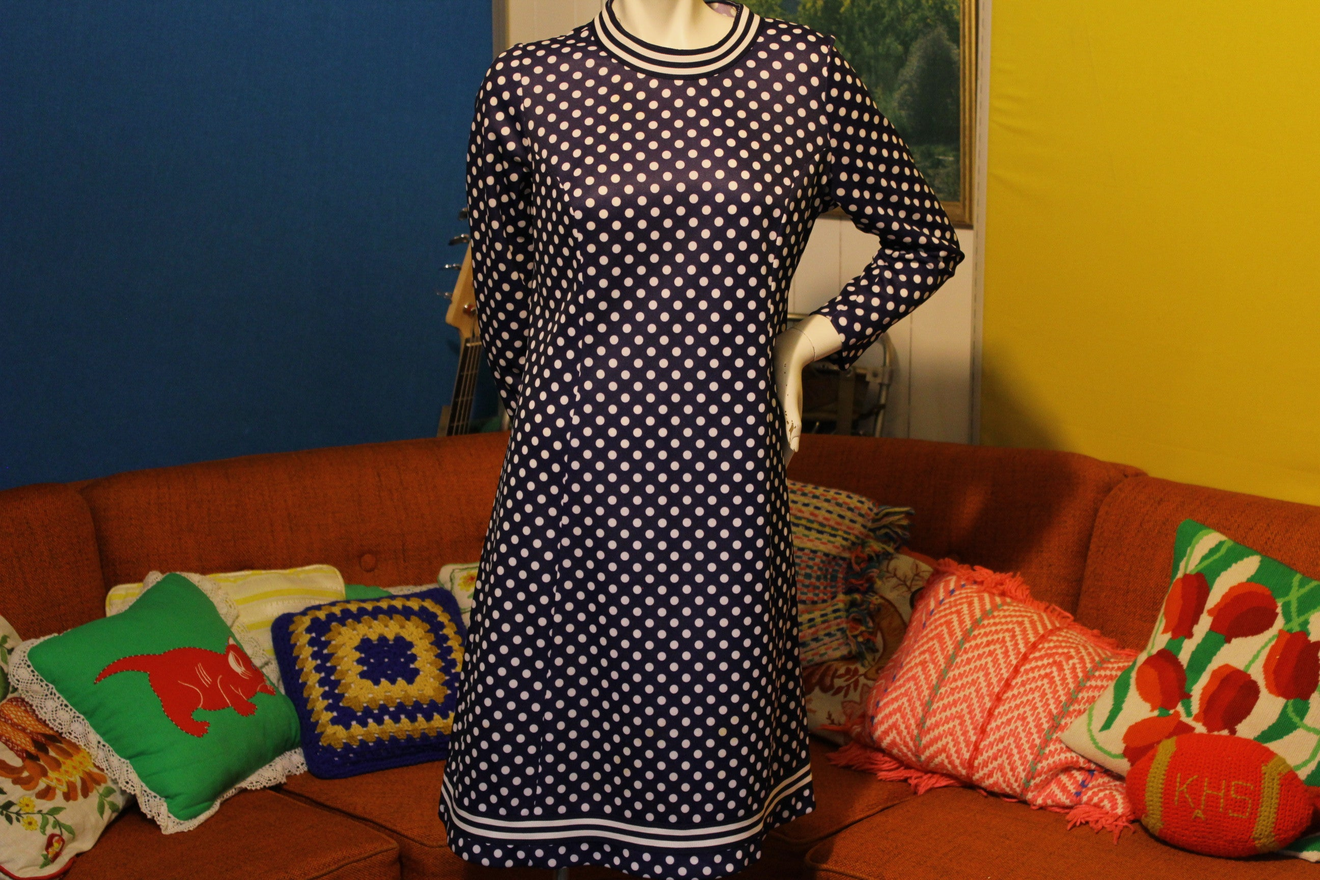 1960's Puritan Forever Young Blue White Polka Dot Dress. Mod Half Zip.