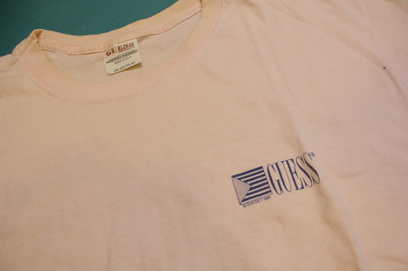 Guess 1989 Nautique Vintage Pink Single Stitch 80's T-Shirt One Size Fits All