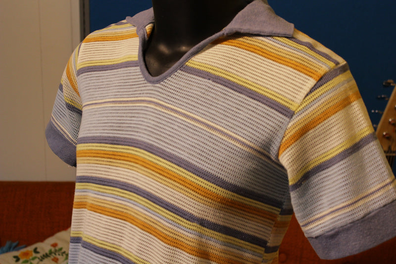 Striped Mesh Jean Cut 1970's Polo Vintage and Nice.