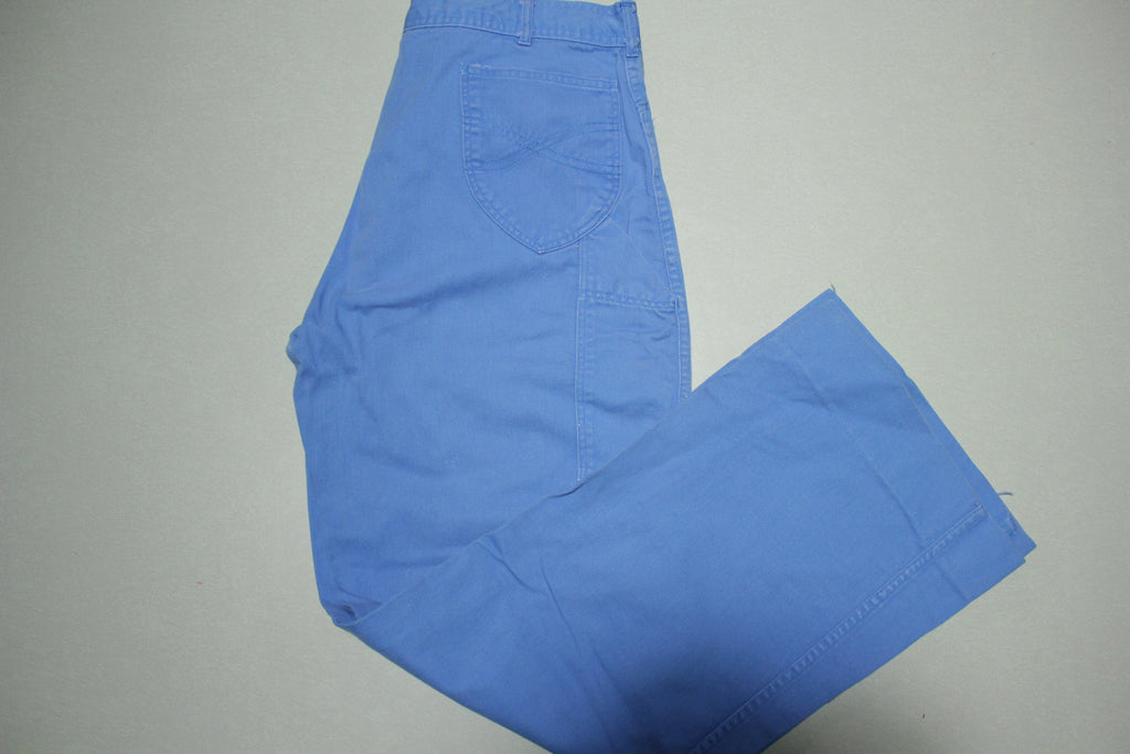 San Francisco Riding Gear Vintage 70's Baby Blue Wide Leg Utility Pocket Denim Jeans