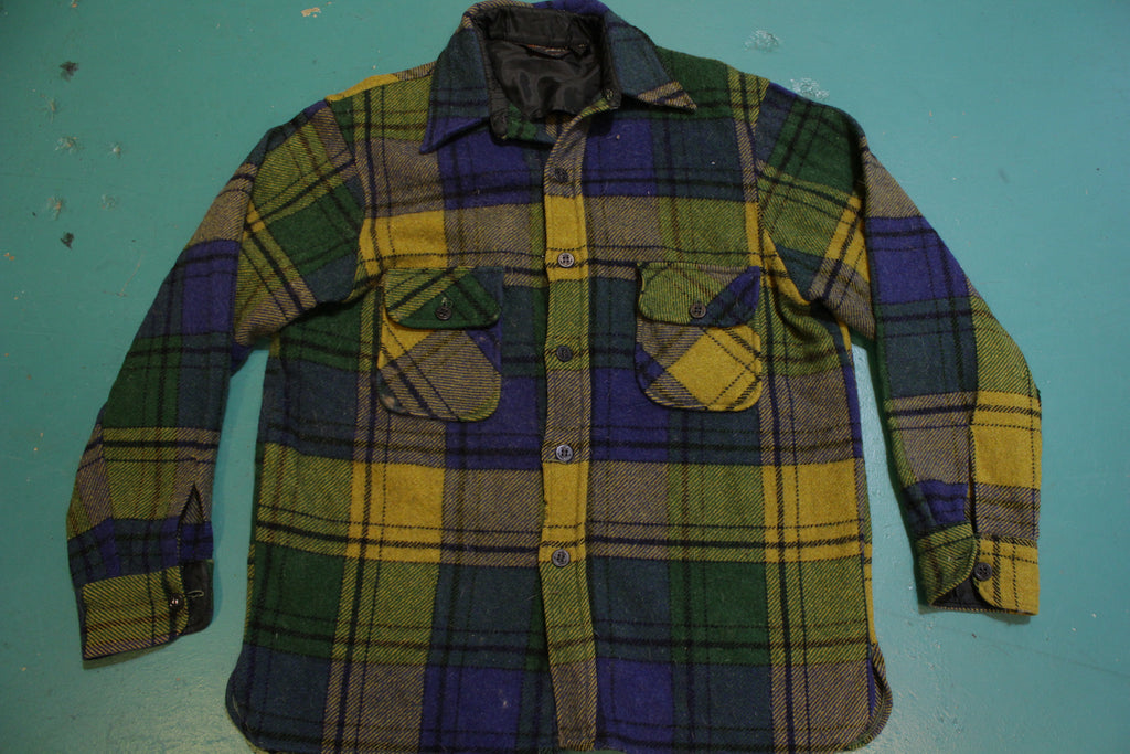 Towncraft Penneys Wool 60's Green Blue Flannel Plaid Shirt Long Sleeve Shirt