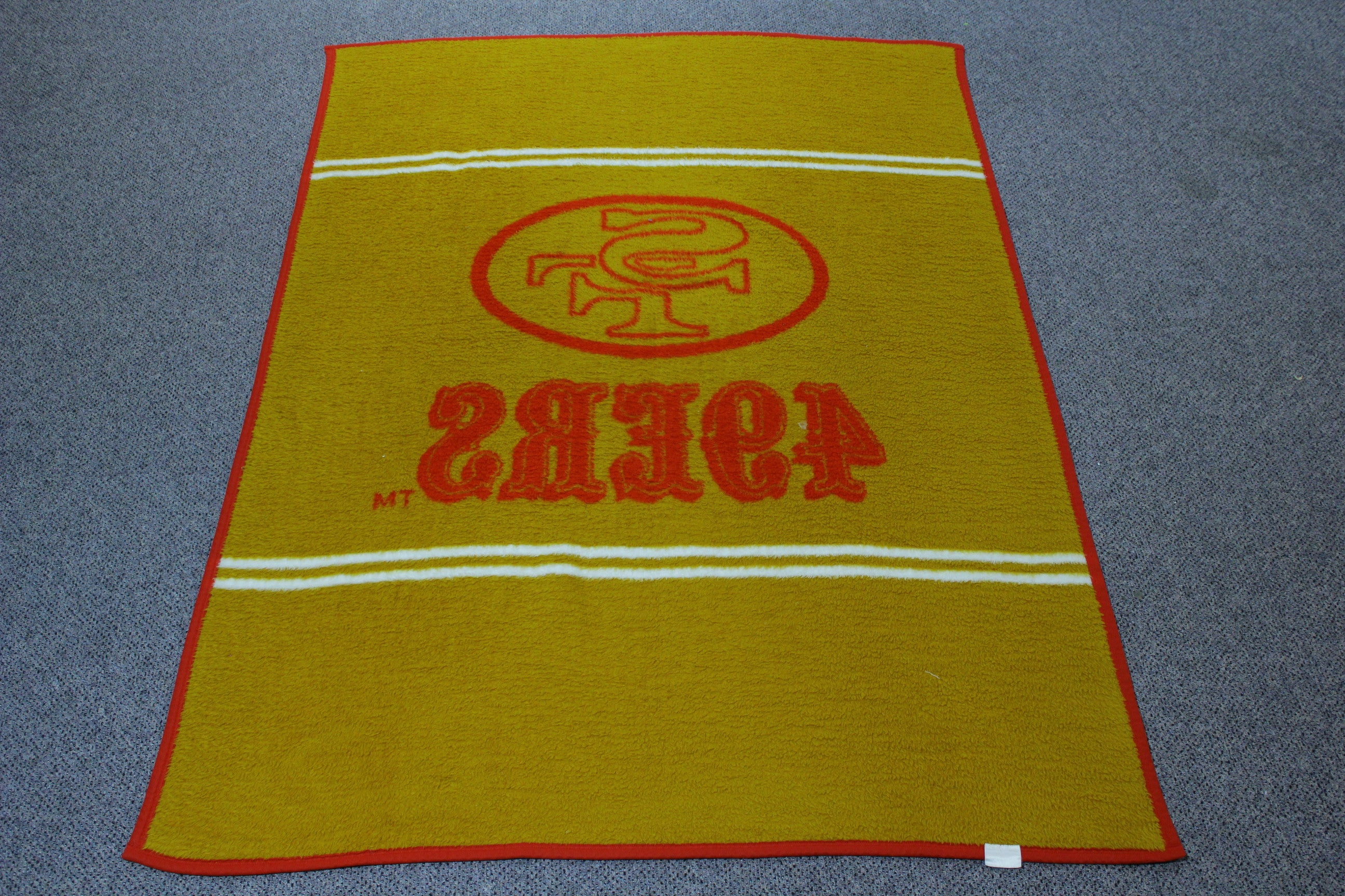 "49ers Vintage Biederlack Fleece Throw Blanket 52"" x 75"" Rug or Wall Art."