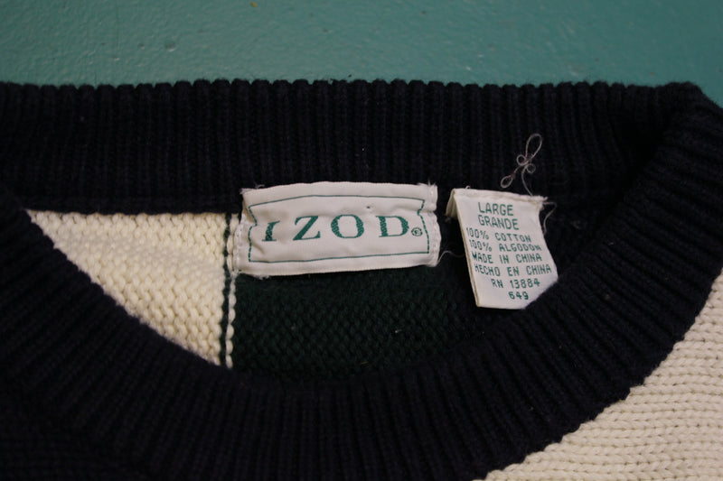 Izod 1990's Color Block Vintage 90's Knit Sweater