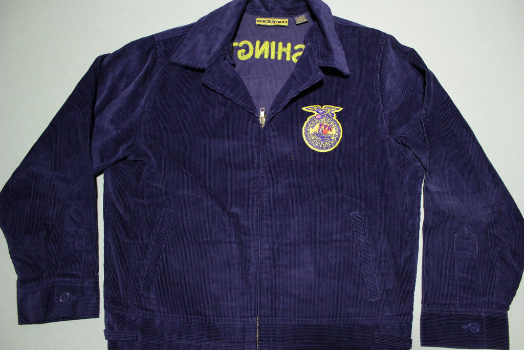 FFA Agricultural Education Vintage Washington Columbia Burbank Farm Animal Corduroy Jacket