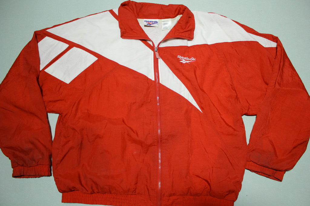 Reebok Vintage 90's Red Color Block Windbreaker Track Jacket