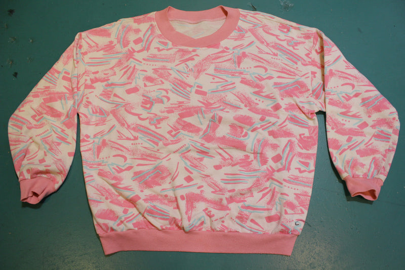 Pink All Over Print Women's Cross Collar Vintage 80's Sweatshirt.