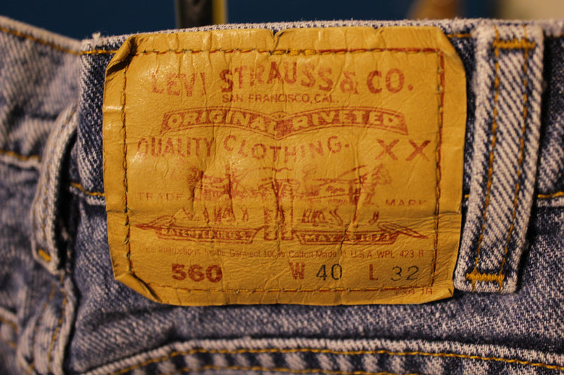 Levis Red Tab Made In USA Jeans 560 Rivets Vintage 80's 90s' 39x31