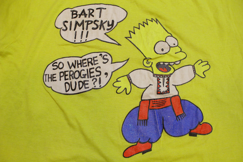Bart Simpson Simpsky Where's The Perogies Dude Vintage Screen Stars Single Stitch Shirt