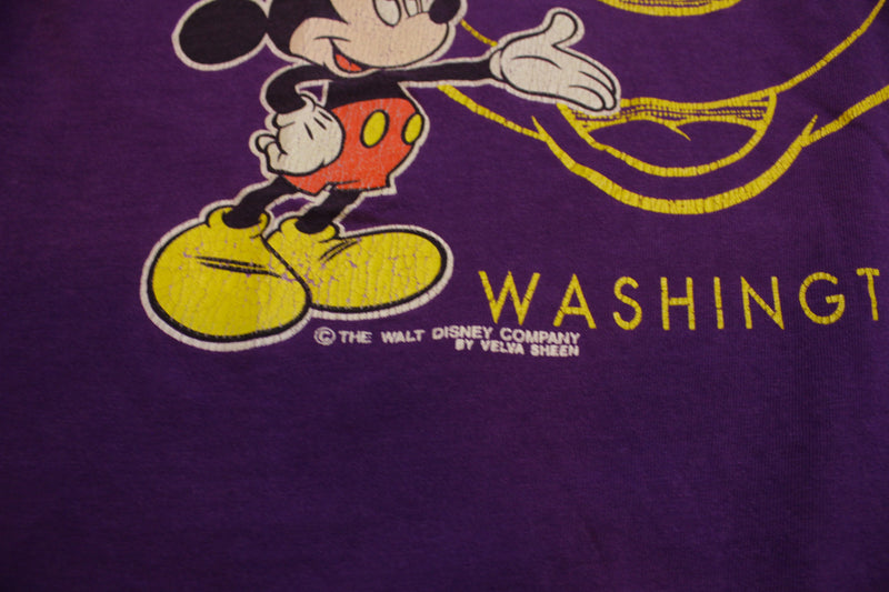 Mickey Mouse Walt Disney Washington Velva Sheen USA Vintage 80's T-Shirt